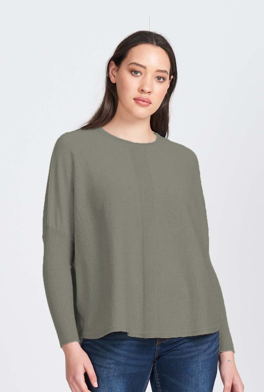 Merino Wool Oversized Rib Sleeve Jumper