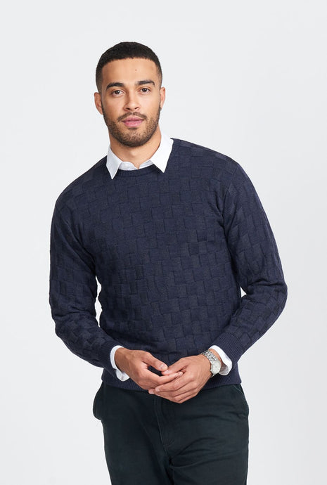 Merino Wool Weave Crew Neck Jumper - Royal Meino