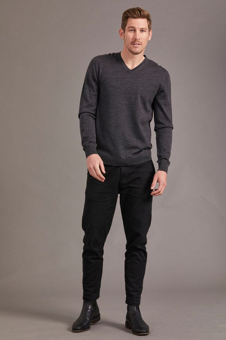 Merino Wool V Neck Sweater - McDonald Textiles