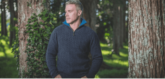 Possum Merino Cable Jersey With Contrast Trim - McDonald Textiles