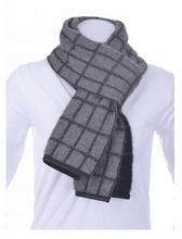 Load image into Gallery viewer, Possum Merino Check Scarf with Lambskin Trim - McDonald Textiles