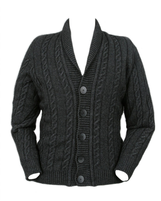 Possum Merino Cable Button Jacket - Lothlorian Knitwear