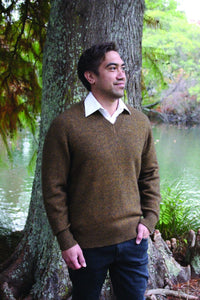 Possum Merino Mens V Neck Jumper - Lothlorian Knitwear NZ