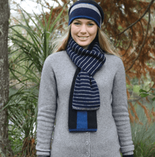 Load image into Gallery viewer, Possum Merino Accent Stripe Scarf - Lothlorian Knitwear