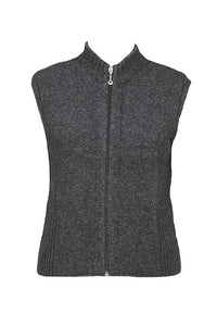 Possum Merino Zip Vest with Rib Detail - Lothlorian Knitwear