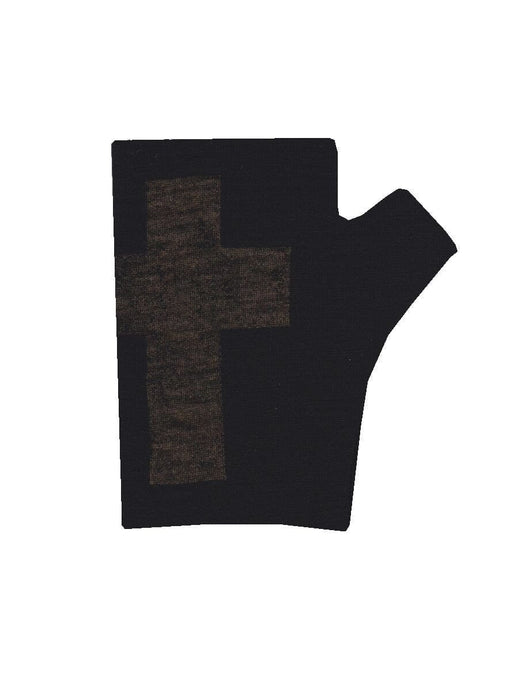 Merino Wool Hobo Black Cross Gloves - Kate Watts