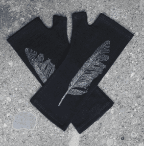 Merino Black Feather Print Fingerless Gloves - Kate Watts