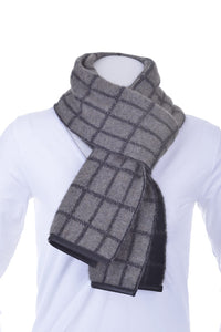 Possum Merino Check Scarf with Lambskin Trim - McDonald Textiles