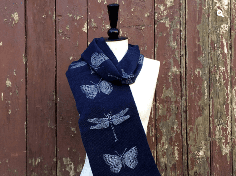 Merino Wool Blue Dragonfly Scarf - Kate Watts