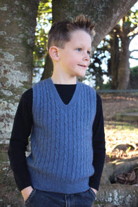 Possum Merino Boys Cable Vest - Cosy Kiwi