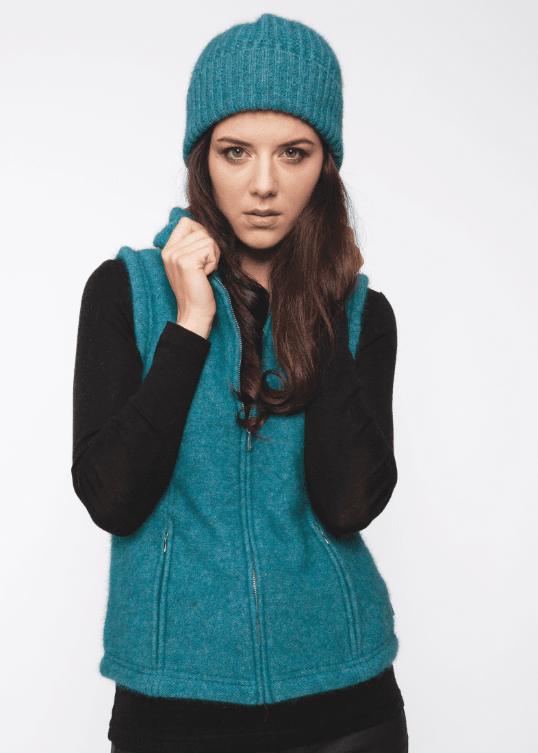 Possum Merino Shaped Zip Vest - Koru Knitwear