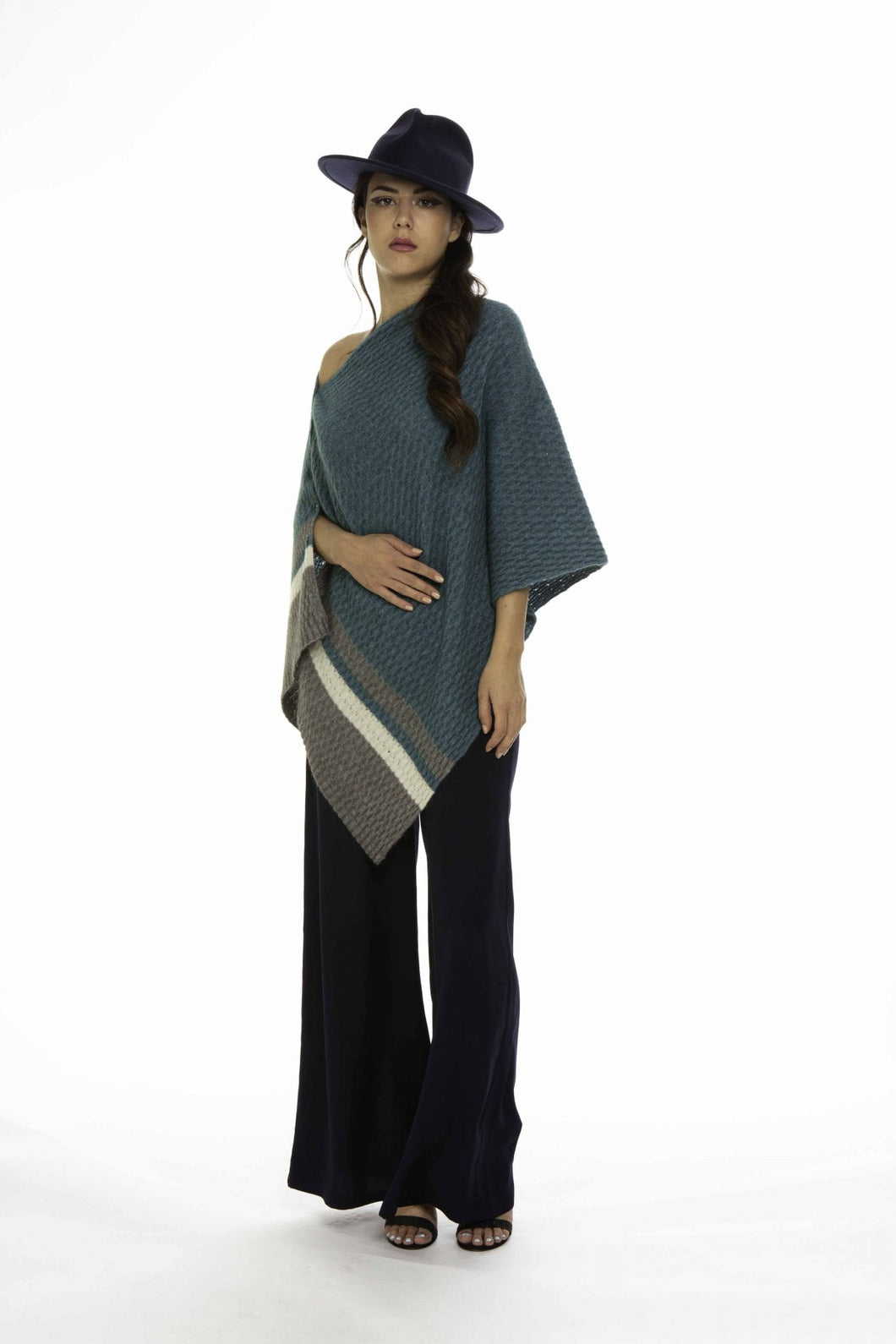 Possum Merino Colour Block Poncho - Koru Knitwear