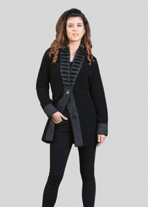 Possum Merino Fancy Collar Jacket - Koru Knitwear