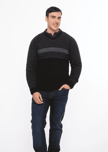 Possum Merino Three Colour Jumper - Koru Knitwear