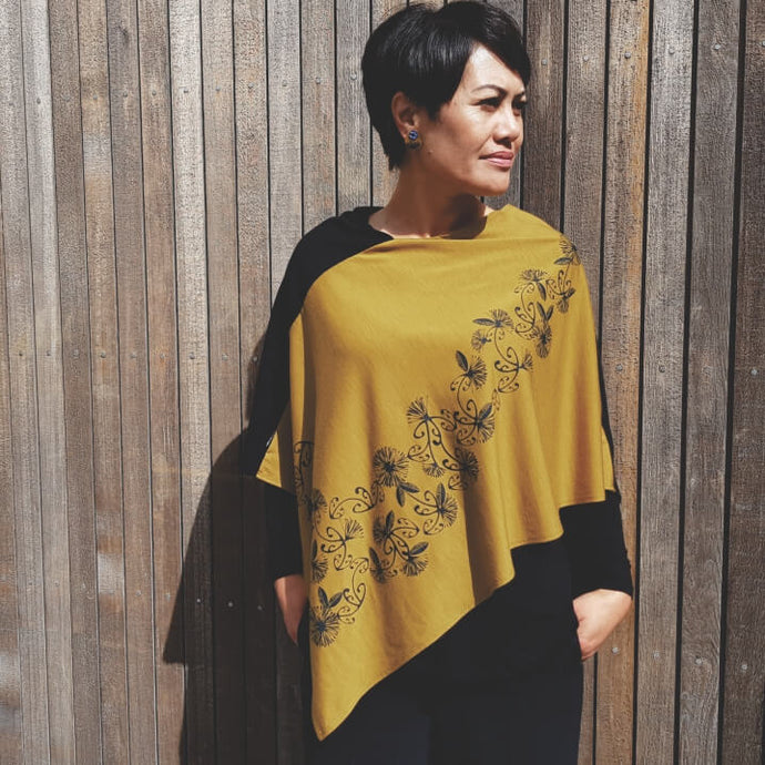 Merino Wool Koru and Pohutukawa Multi Wear Poncho - Jill Main