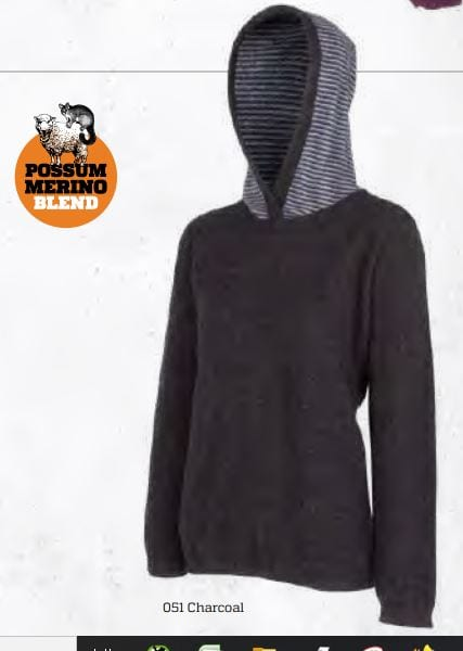 Possum Merino Striped Hoodie - MKM Knitwear