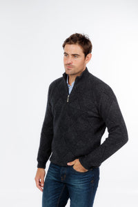 Possum Merino Basket Weave Half Zip Sweater - Native World