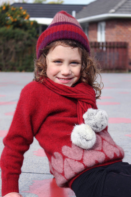 Possum Merino Girls Heart Jumper - Cosy Kiwi