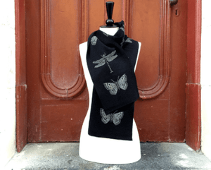 Merino Wool Black Dragonfly Scarf-Kate Watts