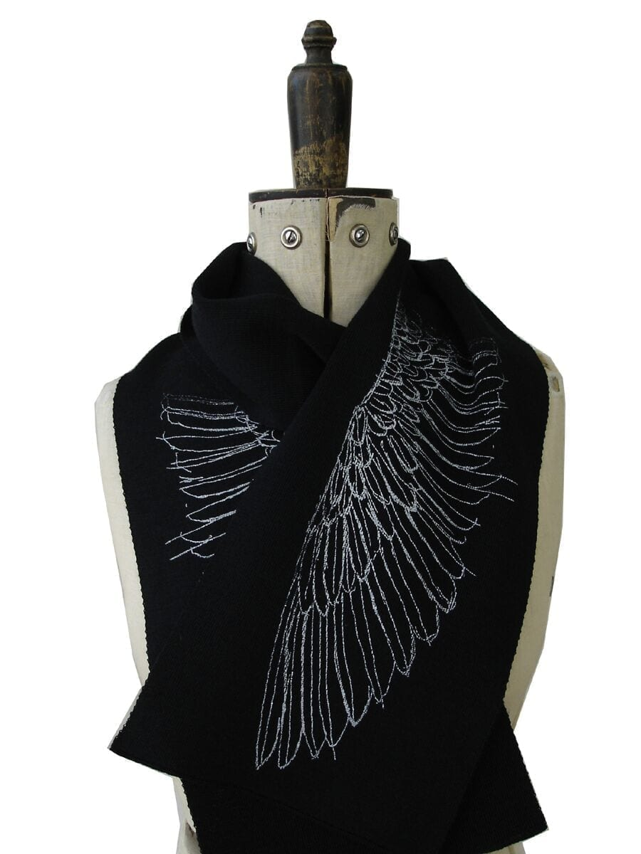 Merino Wool Black Wing Scarf-Kate Watts