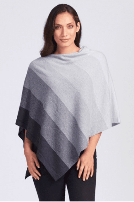 Merino Wool Graduated Stripe Poncho - Royal Merino