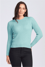 Load image into Gallery viewer, Merino Wool Long Sleeve Cable Crew Neck - Royal Merino