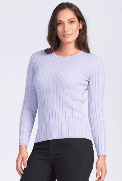 Merino Wool Wide Rib Crew Jumper - Royal Merino