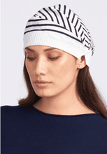 Load image into Gallery viewer, Merino Wool Striped Pleated Hat - Royal Merino