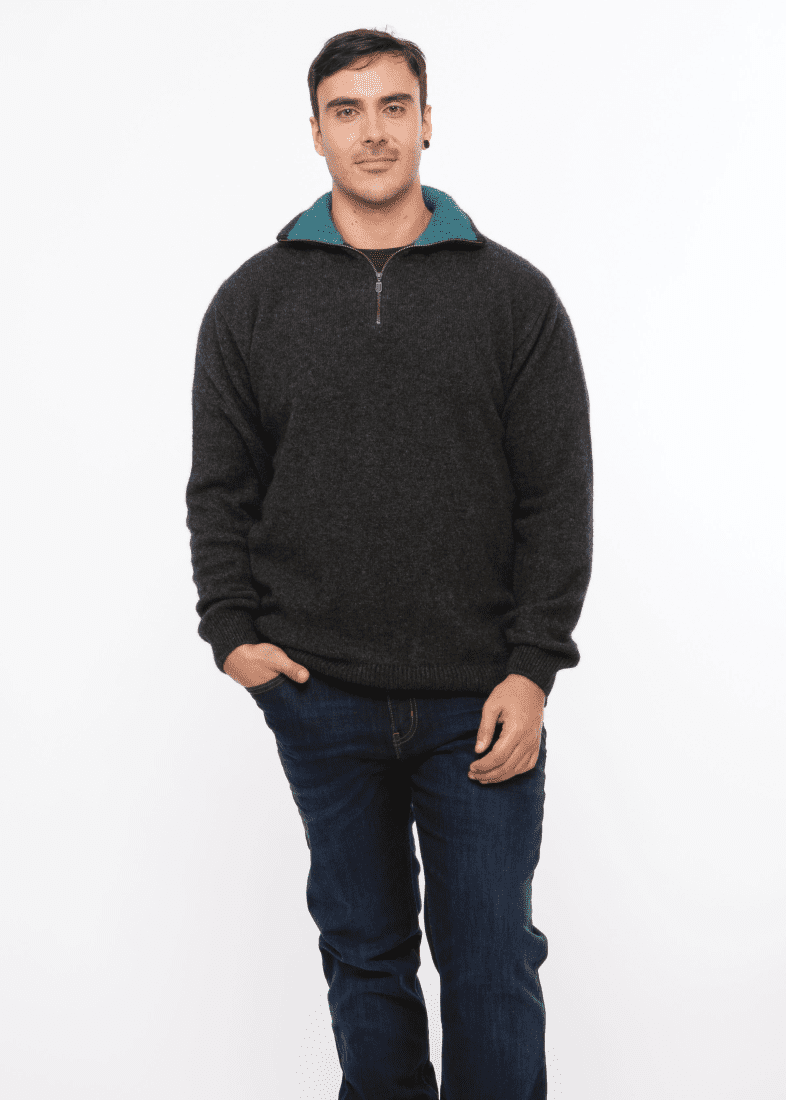 Possum Merino Zip Collar Jumper - Trilogy Knitwear