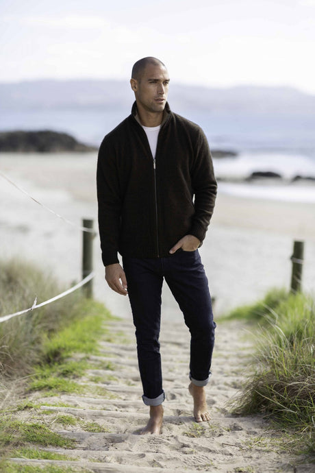 Possum Merino Zip Jacket with Pockets - Trilogy Knitwear