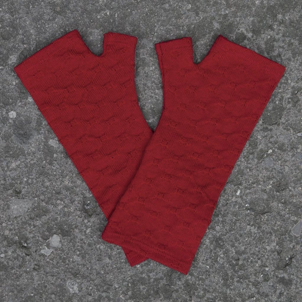 Merino Wool Red Crosses Knit Gloves - Kate Watts