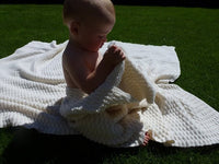 Merino Wool Cot Blanket in Bubble Stitch