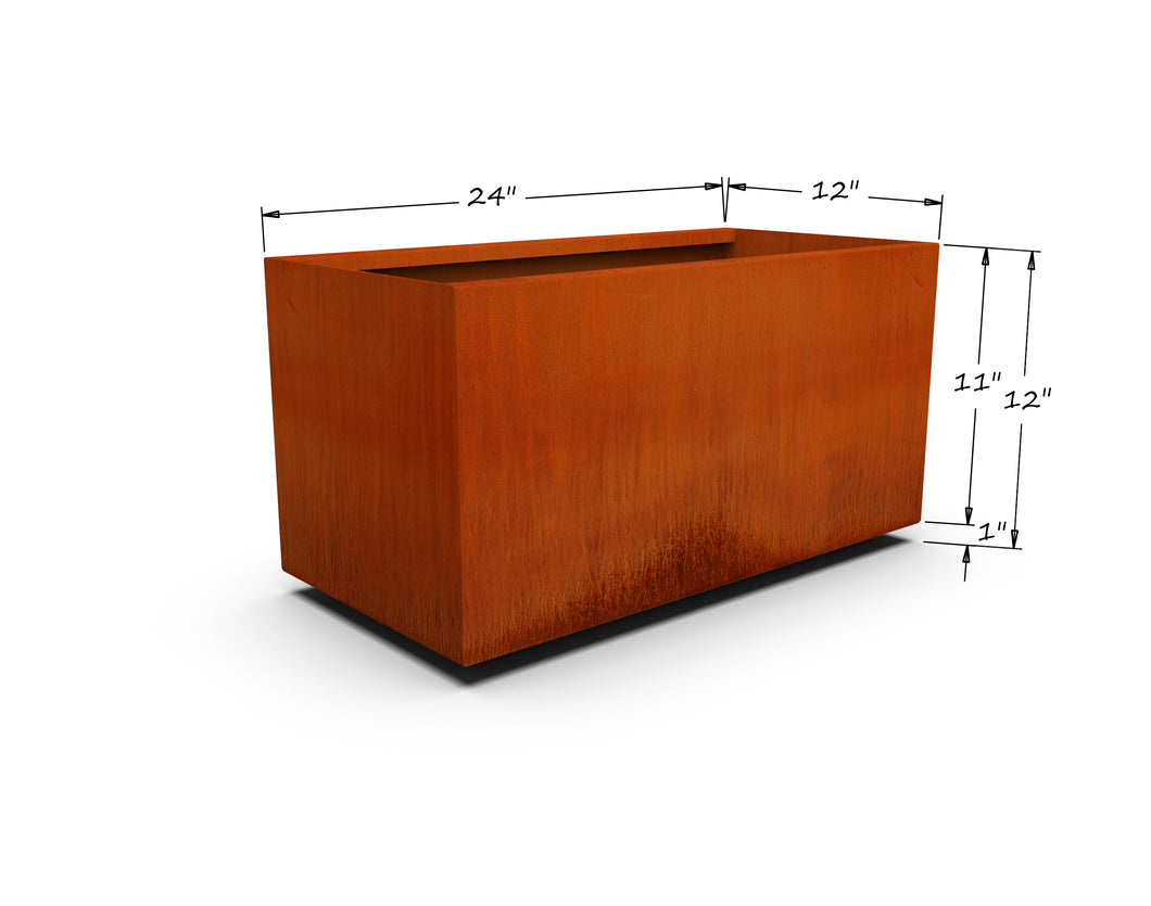 Corten Steel Rectangular Planter (12