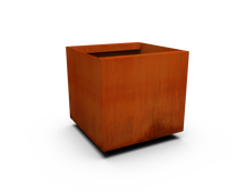 "Load image into Gallery viewer, Corten Steel Square & Cube Planter (12"" - 24"" High)"