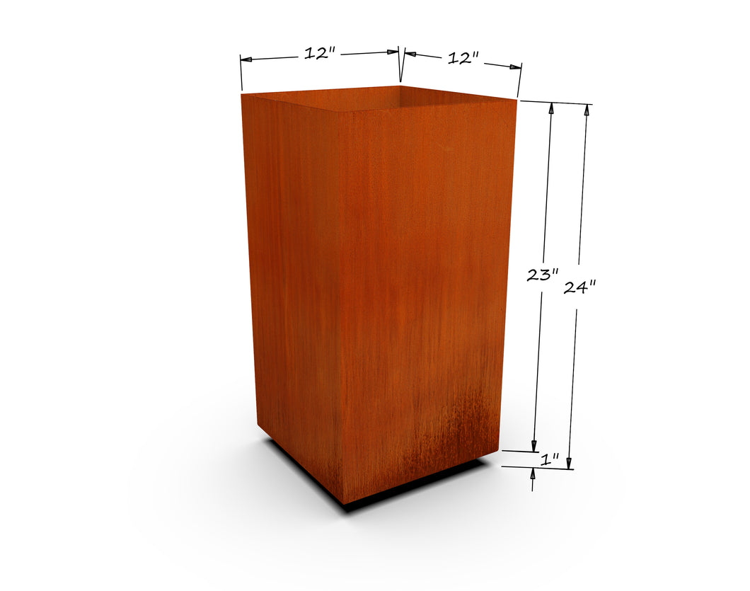 Corten Steel Tall Cube Planter