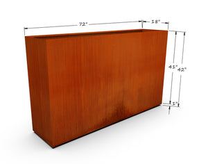 "Corten Steel Rectangular Planter (42"" High)"