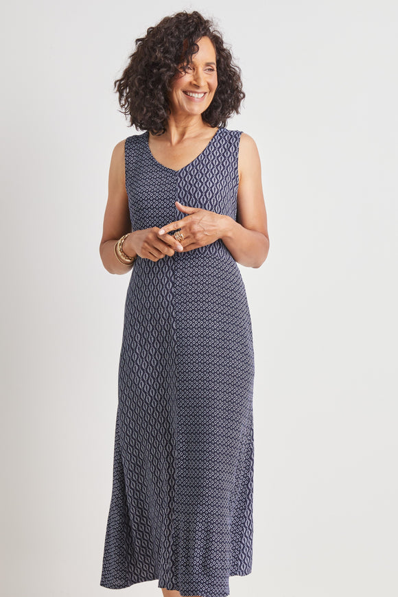 HABITAT MIXED PANEL V-NECK DRESS 33780