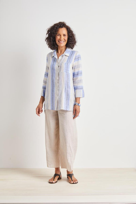 HABITAT HIDDEN PLACKET OCEAN TUNIC - GETAWAY STRIPE 42405