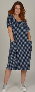 LUCA VINUCCI NAVY POLKA DOT DRESS  HC1121SP
