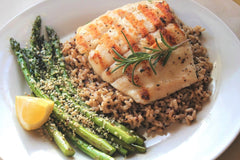 Grilled Halibut with Asparagus