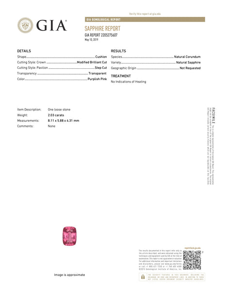 Natural Unheated Purple Pink Sapphire Cushion Shape 2.03ct With GIA Report