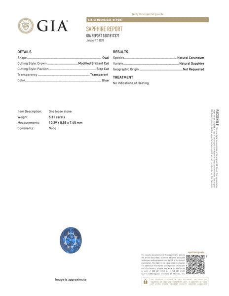 Natural Unheated Blue Sapphire Oval Shape 5.31 Carats With GIA Report