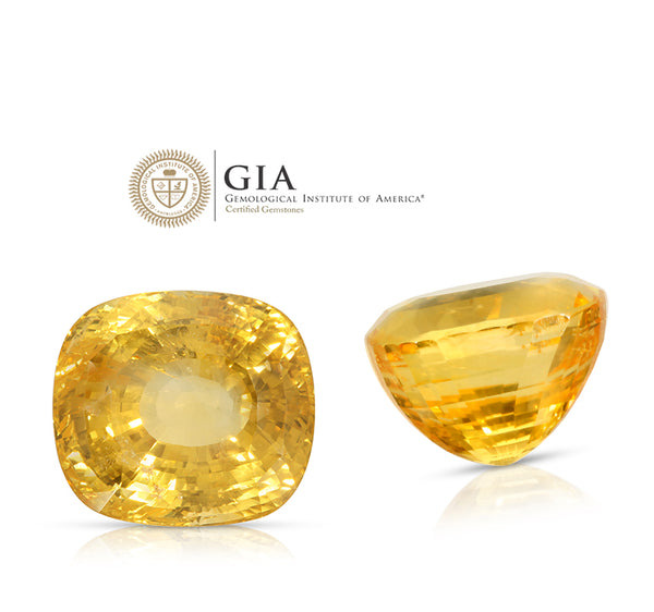 Natural Unheated Ceylon Yellow Sapphire Cushion Shape 59.81ct With GIA Report