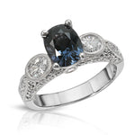 Natural Blue Spinel 1.98 Carats Set in 18k White Gold Ring With Diamonds
