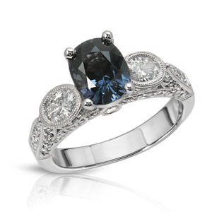 Load image into Gallery viewer, Natural Blue Spinel 1.98 Carats Set in 18k White Gold Ring With Diamonds