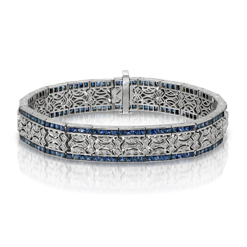 Natural Blue Sapphire 11 Carats Set in 18K White Gold and Diamond French Style Bracelet