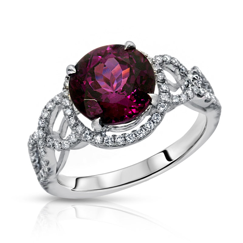 Natural Purple Garnet 3.28 Carats Set in 18K White Gold Ring with Diamonds