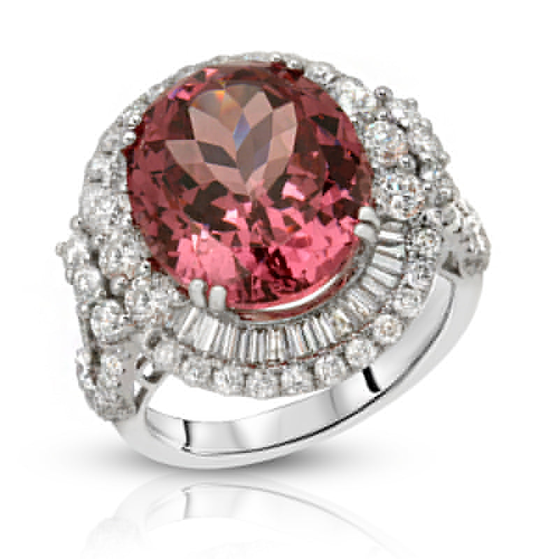 Natural Peach Mahenge Spinel 12.93 Carats Set in 18K White Gold Ring with Diamond