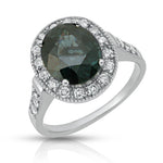 Natural Blue Spinel 3.95 carats set in 14K White Gold Ring with Diamonds