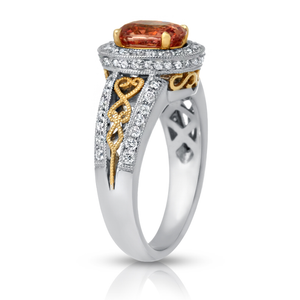 Lotus Love. Padparadscha Sapphire and Diamond Ring
